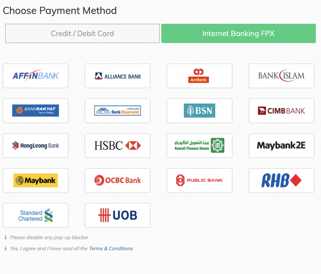 Accepted banks for online payment