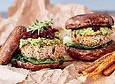 Vegan mushie burgers with the lot